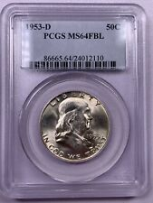100/% White 1958-D PCGS MS64 FBL Franklin Half Dollar