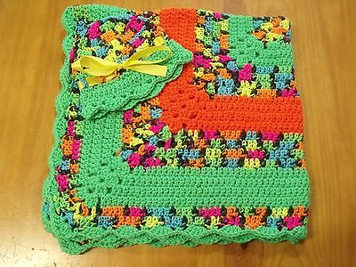 Ingenious Handmade Crochet Baby Blanket/hat Set To Enjoy High Reputation In The International Market Neon Colors Shower Gift See Note