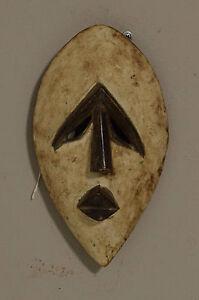 African Mbole White Kaolin Mask Lengola Congo Abstract Mbole Mask