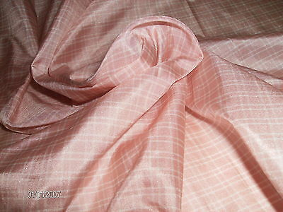 "SMALL PINK & WHITE PLAID SILK TISSUE TAFFETA~18""x22""~ANTIQUE DOLLS DRESS FABRIC"