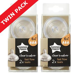 Tommee Tippee Tétines, Fast Flow-twin Pack (4 Tétines)-afficher Le Titre D'origine Couleurs Harmonieuses