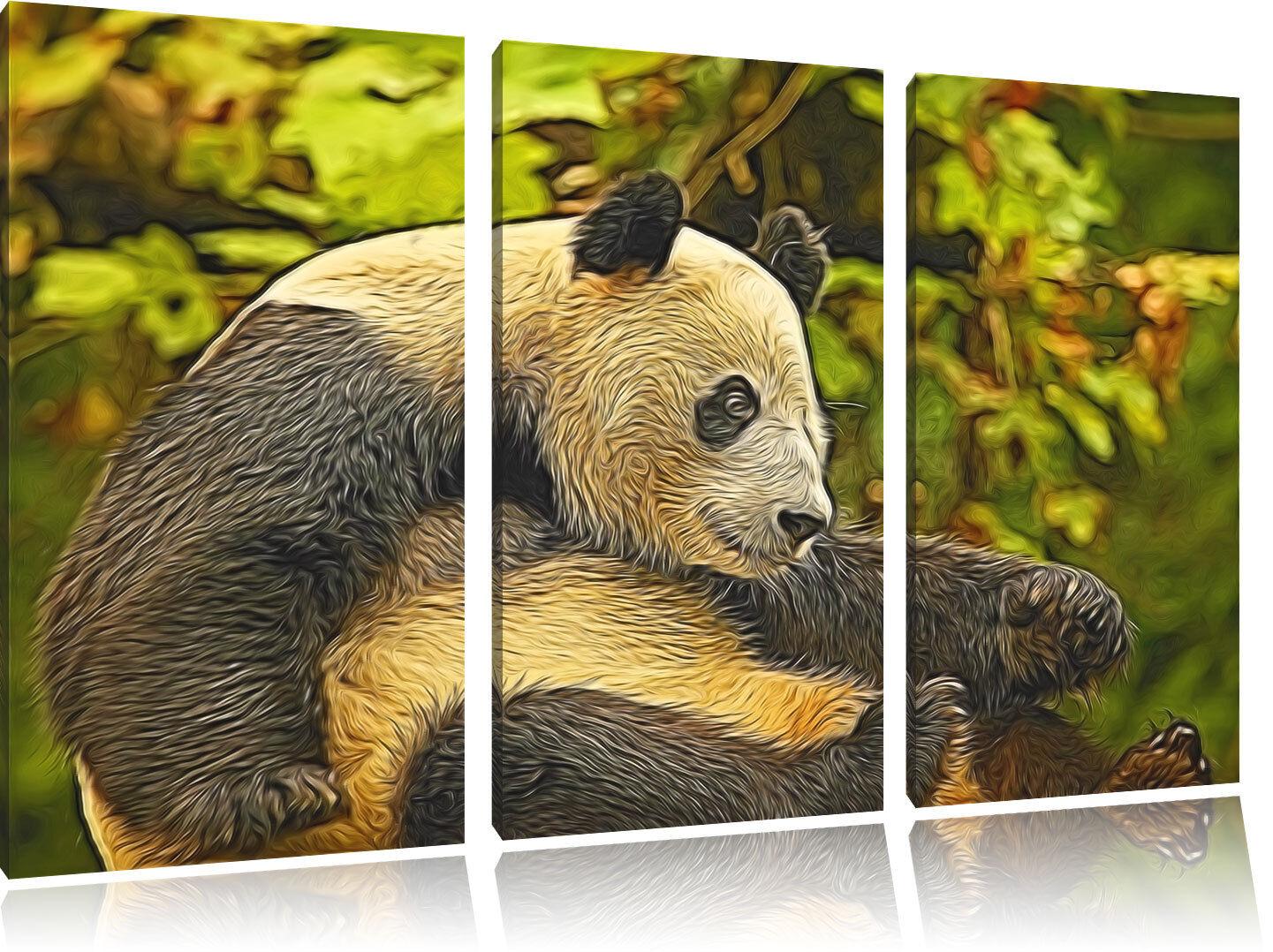 Carino Panda Newart 3-Teiler Quadro su Tel Decorazione Parete Stampa Artistica