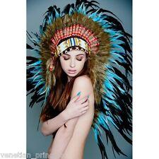 Black Blue Feather Native American Indian Headdress Coachella MH012 USA SELLER