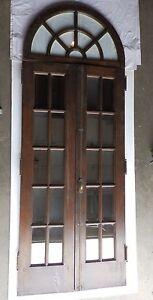 Antique Mahogany Pair French Doors Half Round Sunburst