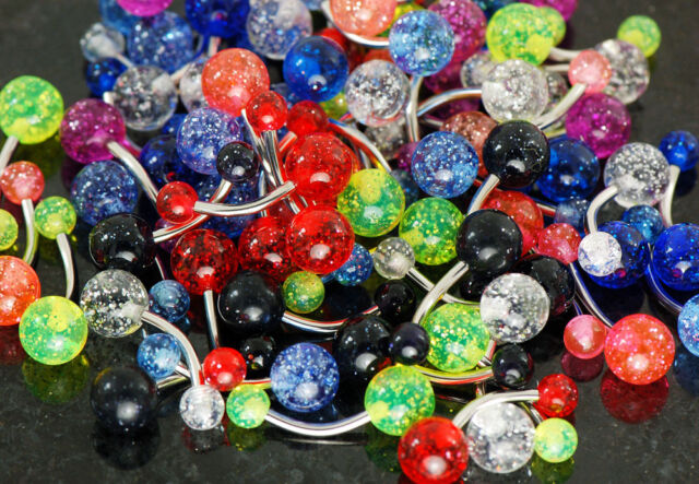 20 Pc 8 colors of U.V. glitter navel belly rings w/ surgical steel barbells 14g