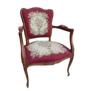 Amazing Image Is Loading French Antique Needlepoint Chair Armchair Antique Furniture