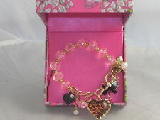 Betsey Johnson Holiday Boxed Gold Pink Bead Leopard Heart Half Stretch Bracelet