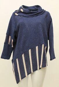 Sheer Speckles Plus Size Kekoo 2 Sweater Fall Women's Blue Semi Uld Pullover wnt6Hqf