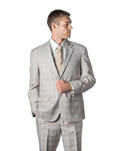 Beige Windowpane 38S 32W Two Button  Herren Suit Flat Front Pants