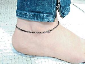 Schlichtes stabiles Fußkettchen schwarz oder Edelstahl Länge 20 bis 35 cm