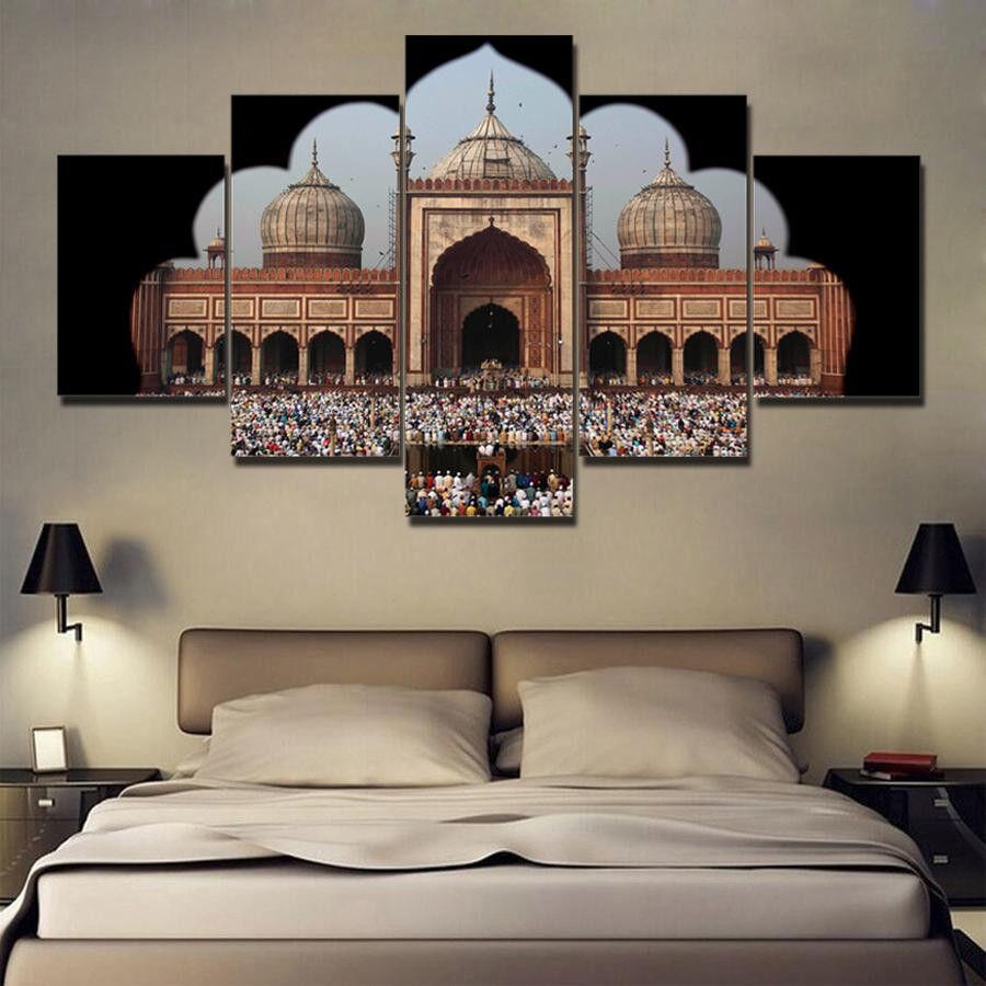 Jama Masjid Eid Mubarak Poster Framed 5 Panel Canvas Print Wall Art Home Decor