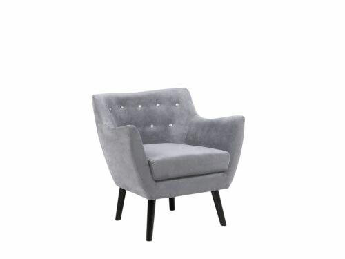 Sessel Samtstoff in Grau mit Armlehnen skandinavischer Stil Polstersessel