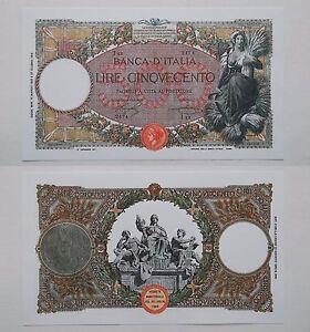Riproduzione 500 Lire Mietitrice Banconota Regno D' Italia Lira Moneta Fds Unc Fbcre6ak-07232054-773452411