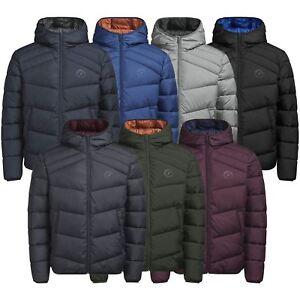 Mens-Puffer-Jacket-JACK-amp-JONES-Landing-Lightly-Padded-Hooded-Zip-Up-Coat