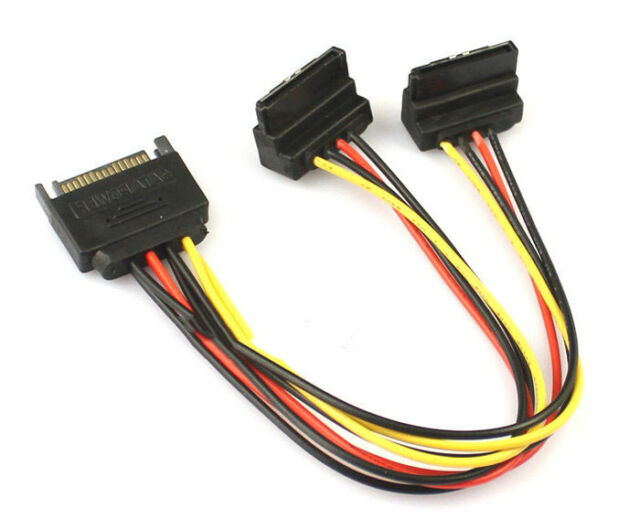 20cm 90 degree SATA 15-Pin Male to 2 x 15P Female Y Splitter Adapter Power Cable