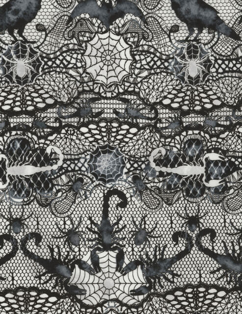 Timeless Treasures Wicked Lace Spider Web Print 100% cotton fabric by the yard