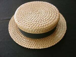 RARE VINTAGE 1920 S MEN S STRAW BOATER HAT SIZE SMALL  fc15da600d3