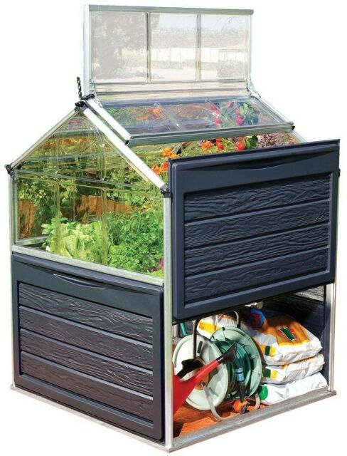 Palram 4 ft x 4 ft Polycarbonate Greenhouse Outdoor Without Floor Vent