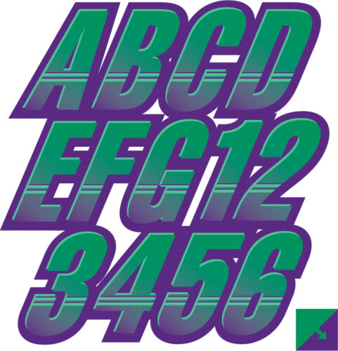 STIFFIE Techtron TT51 Boat PWC Letter Number Decal Registration SEA FOAM GRN PUR