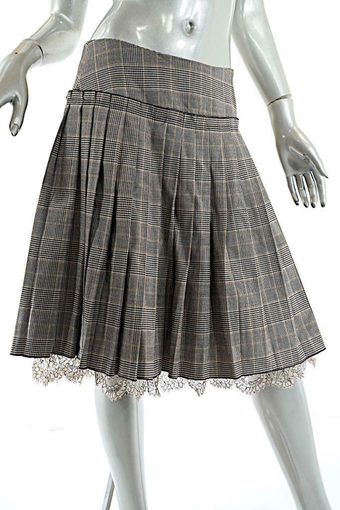 TRACY REESE Brown Tan Wool Blend Plaid Drop Pleat Skirt w Lace Hemline  US 6