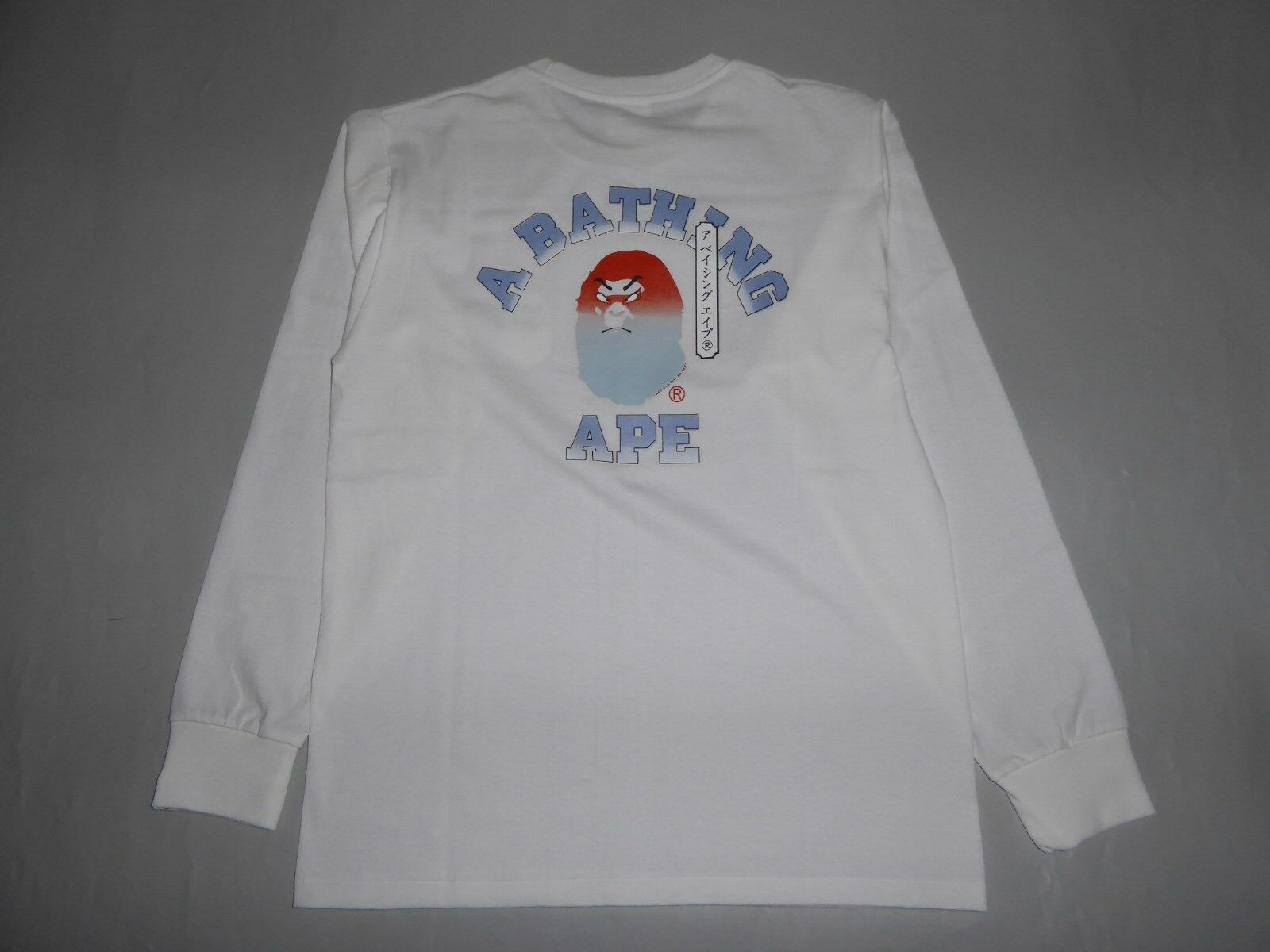 19371 bape kabuki college long sleeve white tee M