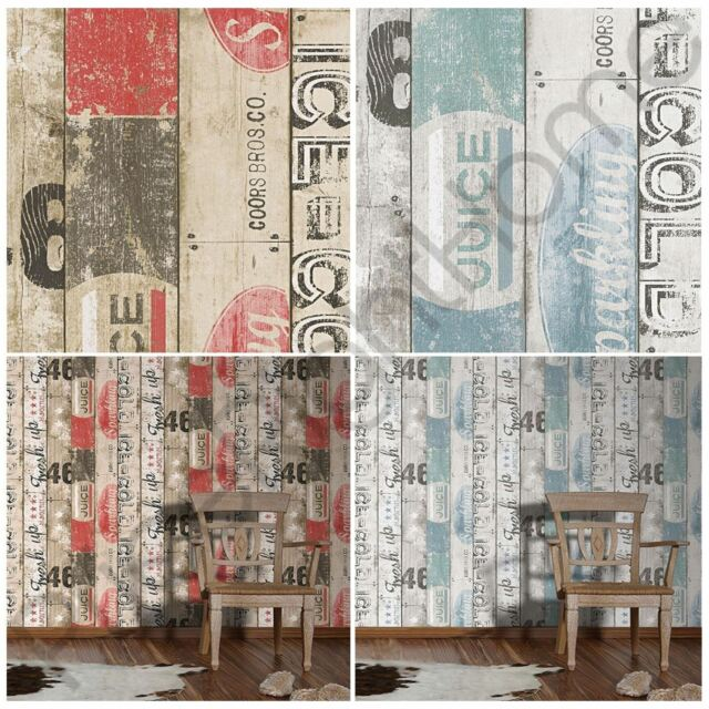 SURF WOOD PANEL WALLPAPER AS CREATION BLUE RED FEATURE WALL DECOR NEW