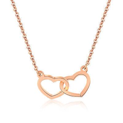 am besten einkaufen verschiedene Stile 2019 am besten Halskette Damen Rose Gold Rotgold Doppel Herz Kette Edelstahl Schmuck -  X1309 | eBay