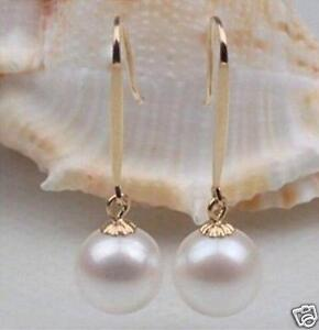 Charming-AAA-10-11mm-real-natural-south-sea-White-Round-pearl-earrings-14K-Gold