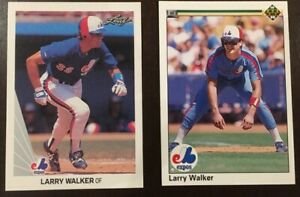 4-Card-Lot-Larry-Walker-HOF-1990-Leaf-amp-Upper-Deck-Rookie-Cards-2-of-each