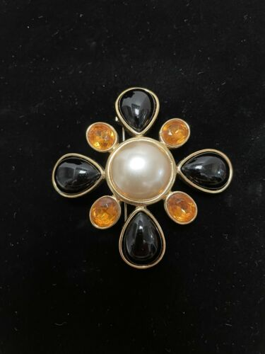 Joan Rivers Maltese Cross Gold Black Pearl Crystal
