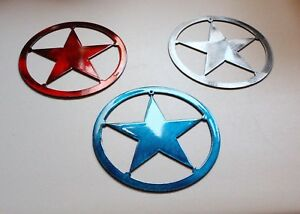 Texas-Star-Metal-5-034-Wall-Art-Decor-Red-Blue-Silver-Trio