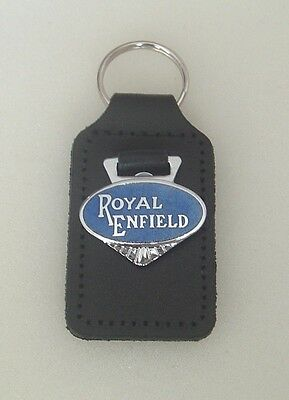 ROYAL ENFIELD KEYRING ENAMEL BADGED LEATHER KEYRING, KEY CHAIN, KEY FOB