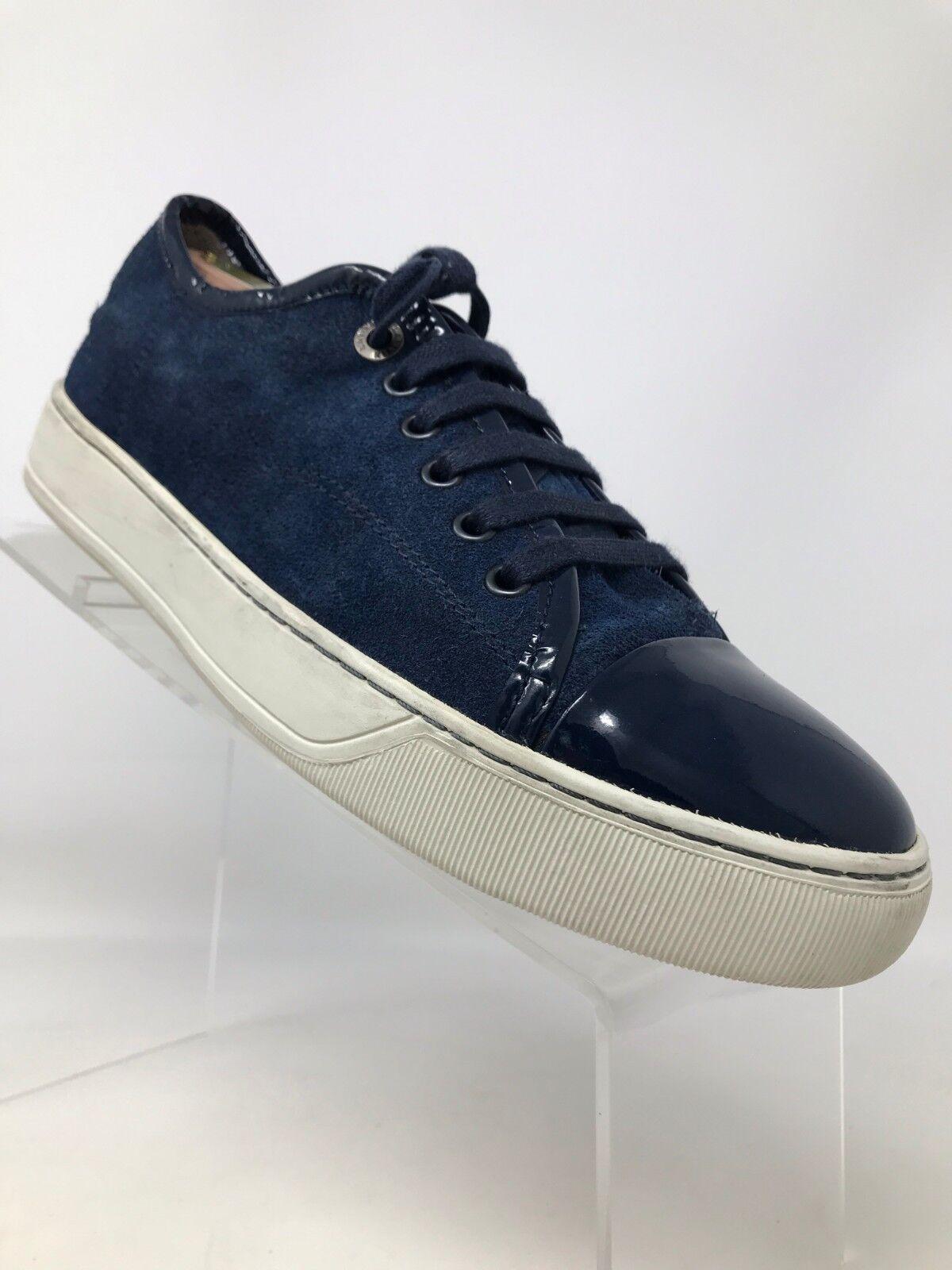 Lanvin Blue Low Top Suede Calf Skin Scarpe da Ginnastica Cap Toe Lace Up Uomo EUR 39 US 7