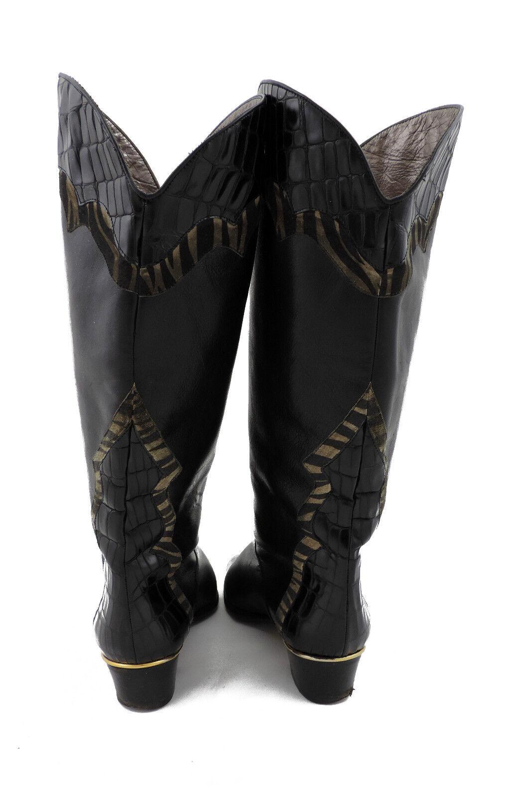 Brunella Stiefel vintage 38 schwarz Schlüpfstiefel Leder vintage Stiefel slouch 01054a