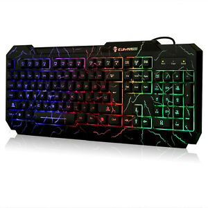 Gaming-Tastatur-Risse-Regenbogen-LED-Hintergrundbeleuchtung-USB-Kabelgebunden