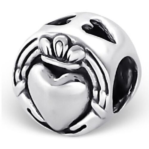 S2262 Authentic Sterling Silver Claddagh Charm for Bracelet