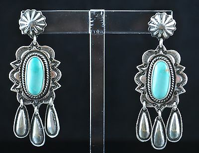 Sterling Silver Navajo Post Dangle Earrings By Donovan Cadman Royston Turquoise