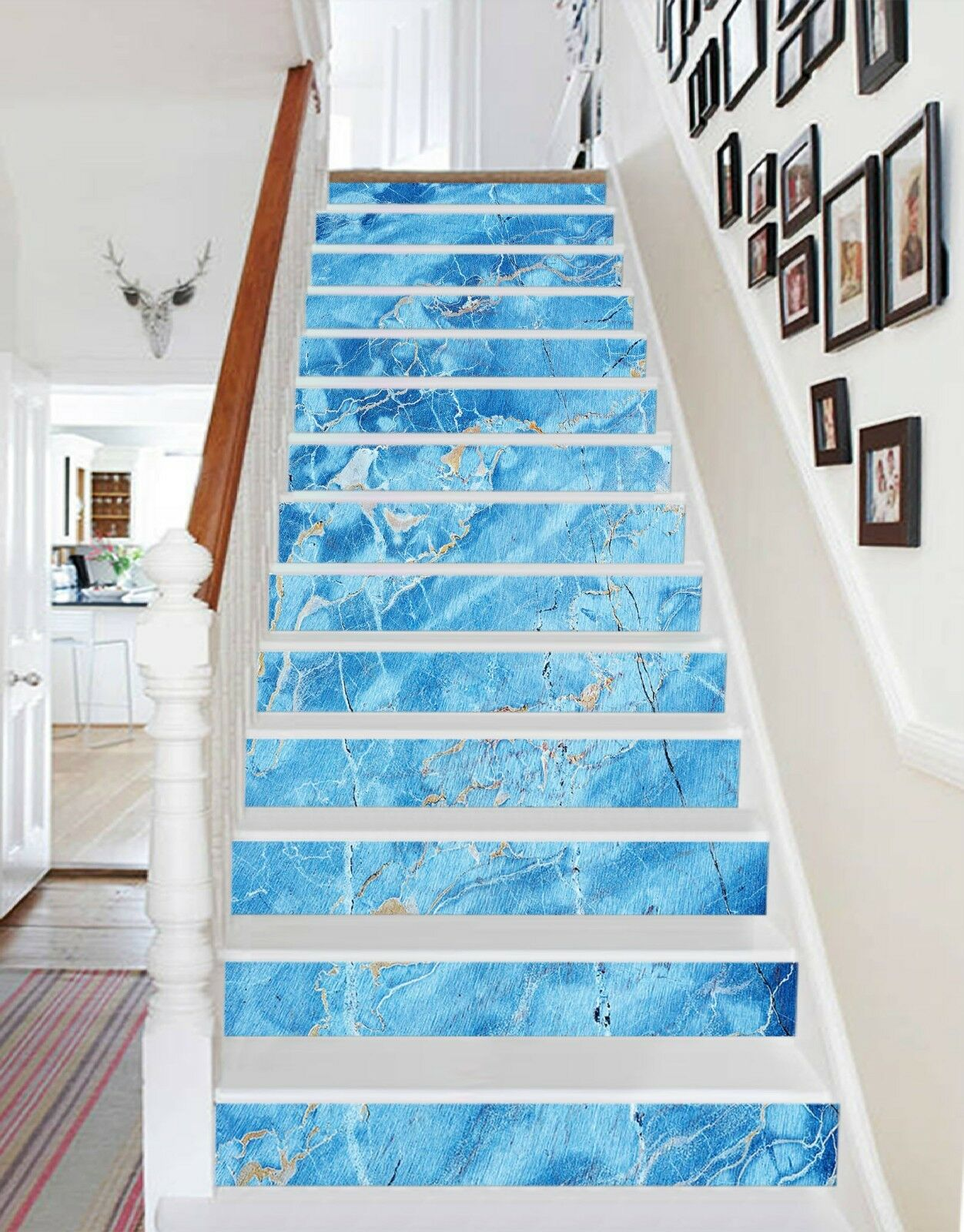 3D blue Riss 5 Fliese Marmor Riser Fototapete Vinyl Aufkleber Tapete DE