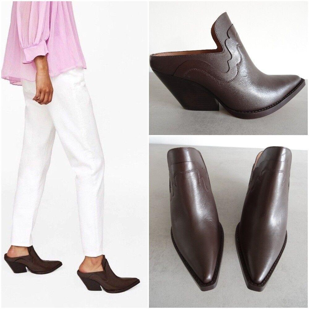 Zara Studio en cuir marron cowboy-style mule Cheville Bottes Taille UK 4 EU 37 US 6,5