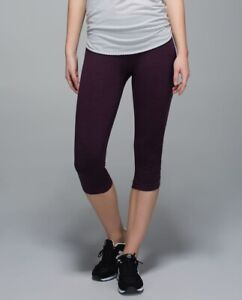 Lululemon In The Flow Crop II Heathered Black Cherry Size 4 FREE SHIPPING