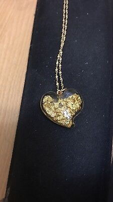 """glass heart pendant filled with pure gold flakes on a 24"""" 14K necklace"""