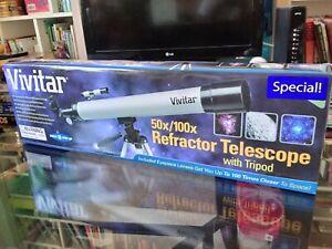 VIVITAR-REFRACTOR-TELESCOPE-With-Tripod-50x-100x-New-Free-Shipping