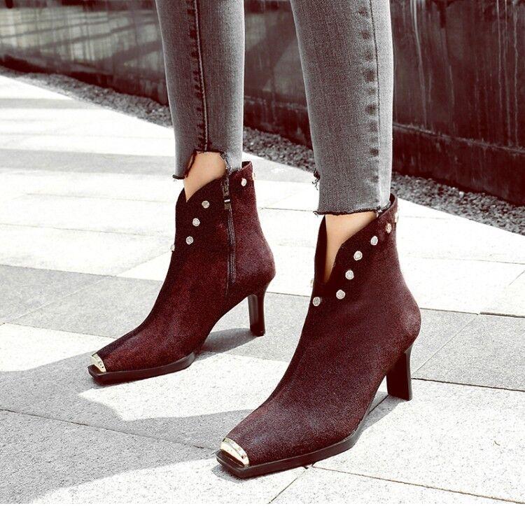 Para mujer botas al Tobillo Con Con Con Tachuelas Punk dedo del pie cuadrado de Gamuza Taco Alto Zapatos De Moda Cremallera Lateral  clásico atemporal