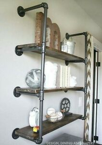 VINTAGE-STYLE-SHELF-SHELVES-BOOKCASE-MADE-USING-INDUSTRIAL-PIPE-FITTINGS