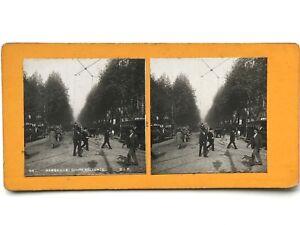 Marsella Cours Belsunce Francia Fotografía Estéreo Vintage Analógica