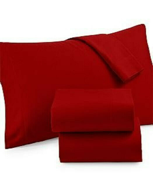 Martha Stewart Collection Solid Flannel Sheet Set (King, Holiday Red)