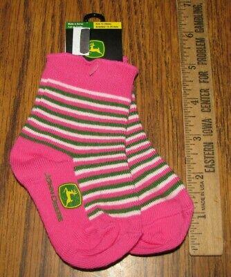Pink 3 Pairs John Deere Girls Toddler Socks Size 12-24 Months