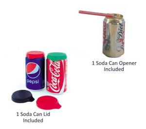 LOT OF 1 SODA POP CAN TAB OPENER AND 1 LID - BEVERAGE TOP CAP LIFTER GRABBER
