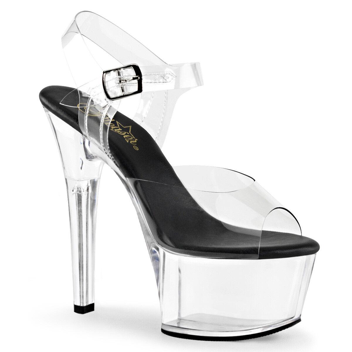 6  Negro lucite claro Suela Pleaser Pleaser Pleaser Plataforma Zapatos de bailarina bailarina Tacones Altos  el mas de moda