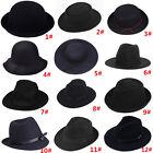 Hippie Unisex Men Black Jazz Wool Trilby Bowler Fedora Panama Hat Gangster Cap